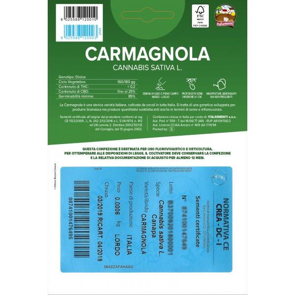CARMAGNOLA - 50 Semi Certificati Canapa Sativa